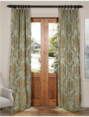 Magdelena Jade Gold Designer Damask Curtain Half Price Drapes Panel Curtains Damask Curtains