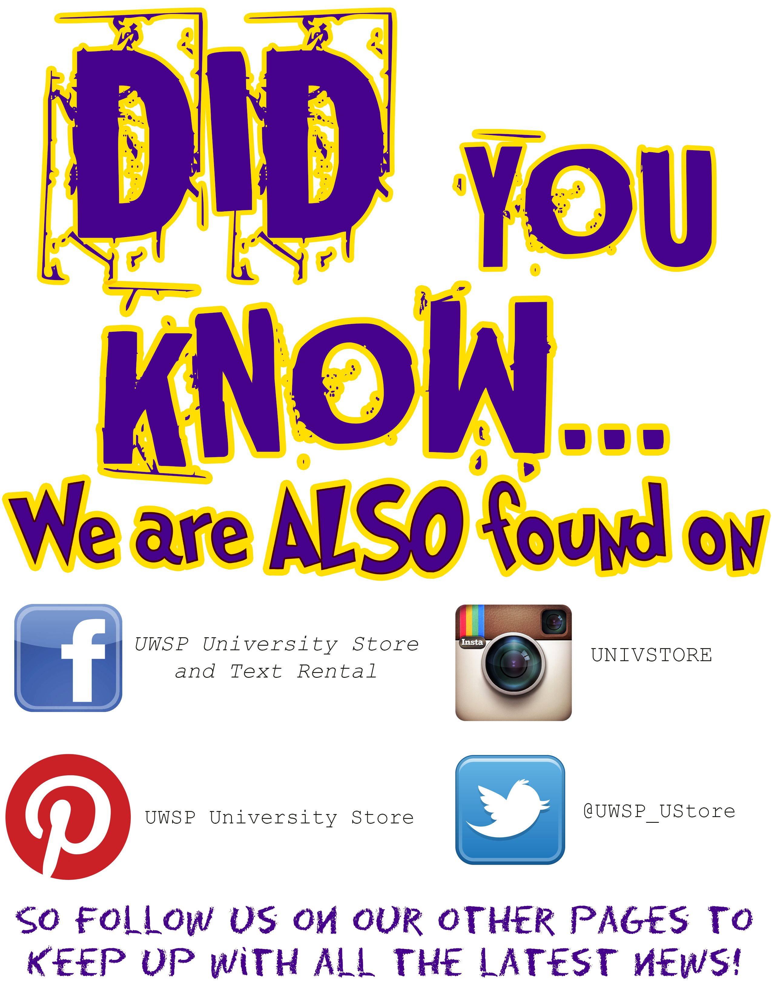 Did You Know That We Also Have Facebook Twitter And Instagram Accounts Be Sure To Like And Follow Us On All Of O Did You Know Latest News University Store