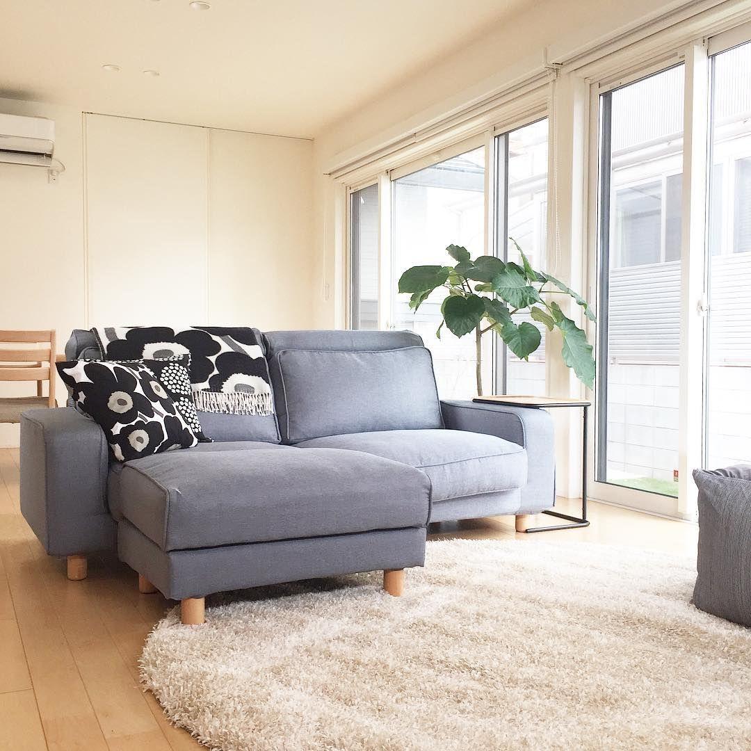 Muji Wide Arm Sofa With Ottoman In Blue Grey Gaia Fog Cotton