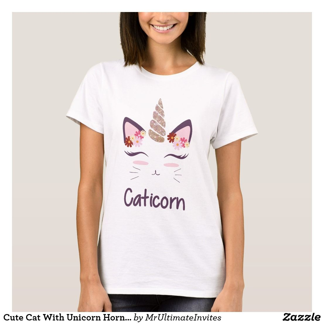 Cute Cat With Unicorn Horn And Flowers T-shirt | Zazzle.com