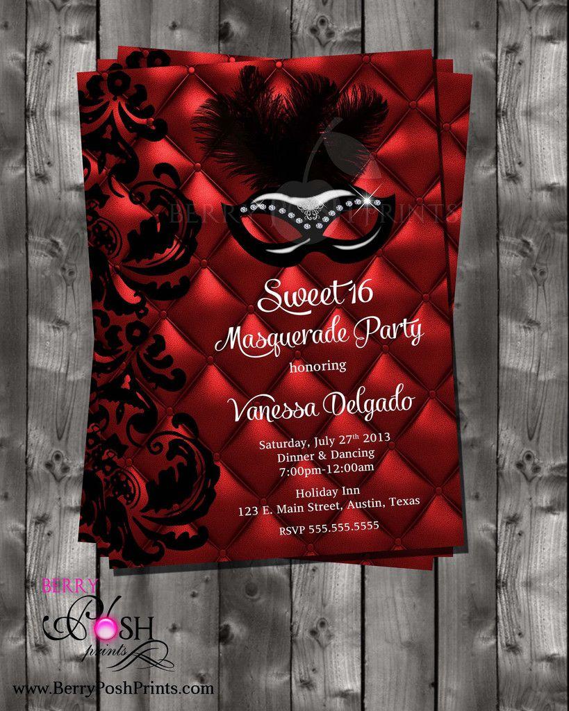 Masquerade Ball Digital Invitation for sweet sixteen, quinceanera ...