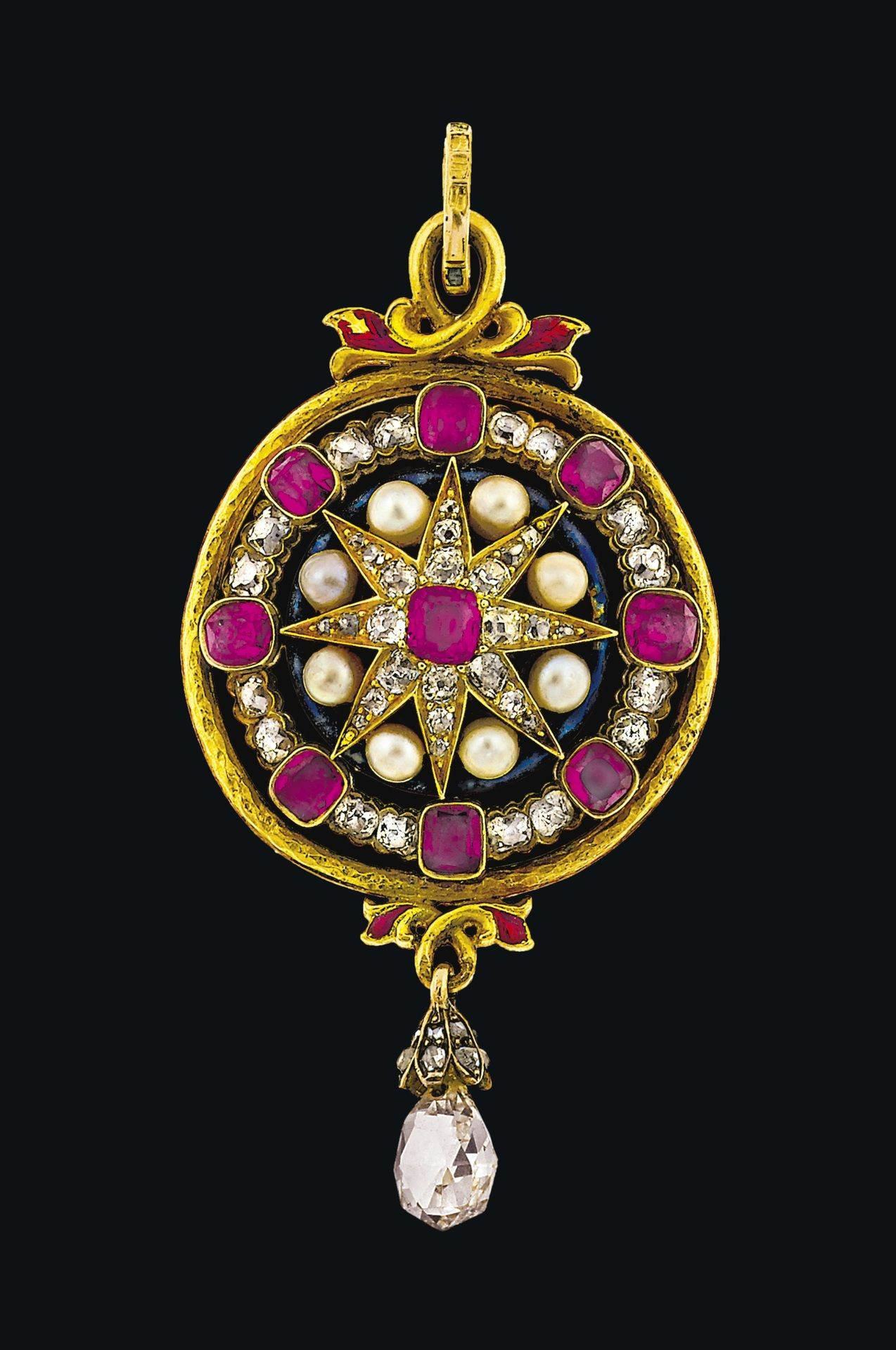 A late 19th century ruby, diamond, pearl and enamel pendant Jewellery
