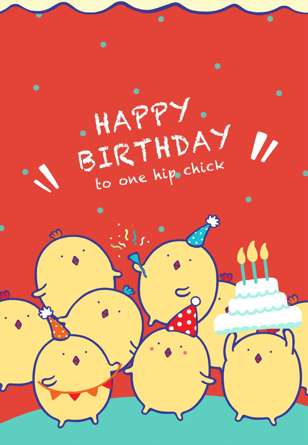 Birthday Card Free Printable One Hip Chick Greeting Card Stylish