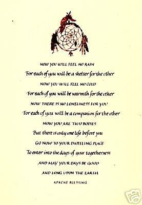 Native American Sayings Blessings Prayers Apache Wedding Blessing A3 By Inspiredbyscript