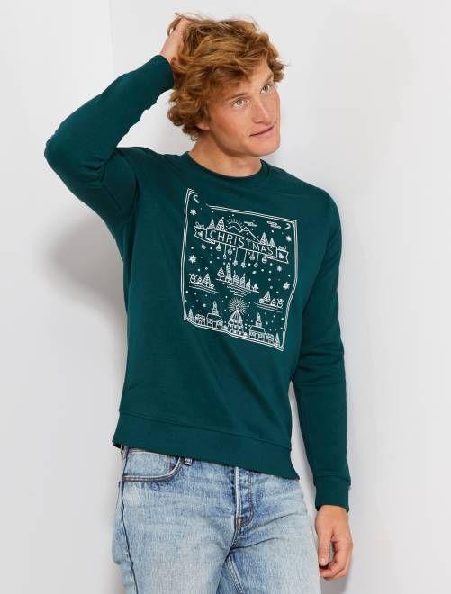 Acheter Authentic soldes profiter de prix bas Sweat de Noël imprimé vert Homme - Kiabi | tricot pour homme ...