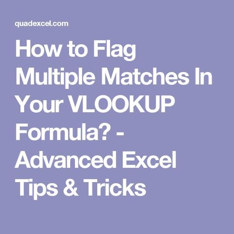 How to Flag Multiple Matches In Your VLOOKUP Formula? - Advanced