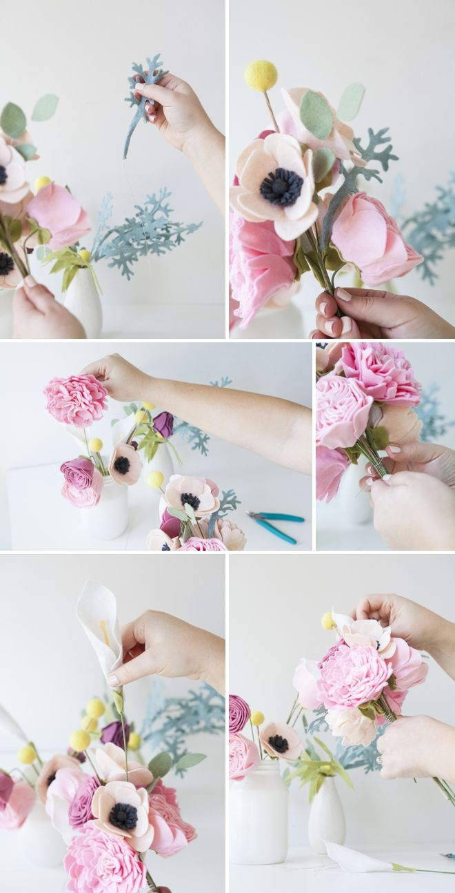 This wedding bouquet is made out of felt flowers learn how fabric flowers diy how to make a felt wedding bouquet izmirmasajfo