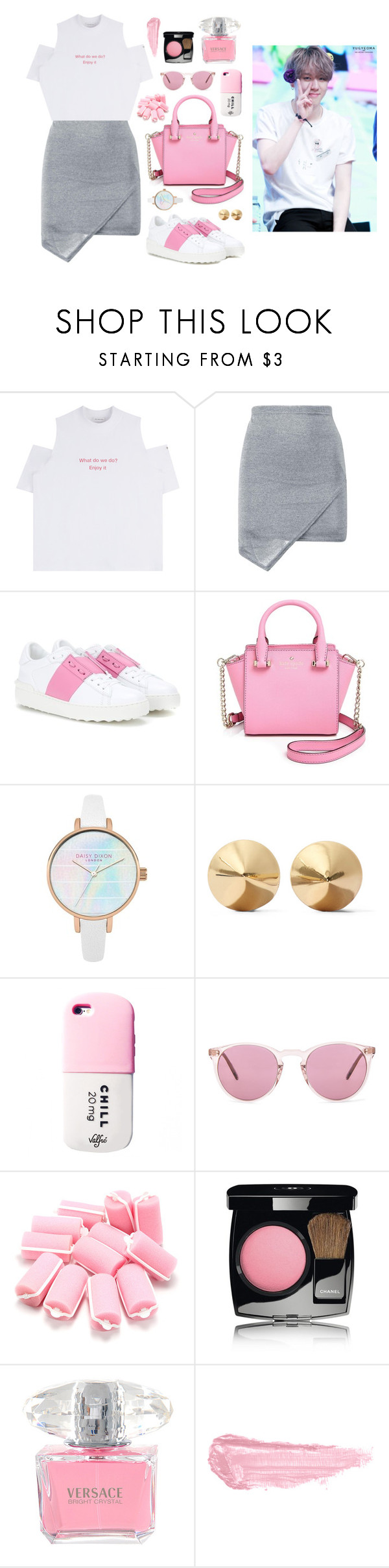 """""""Street fashion with Yugyeom"""" by got7outfits ❤ liked on Polyvore featuring Valentino, Kate Spade, Eddie Borgo, Oliver Peoples, Chanel, Versace and By Terry"""