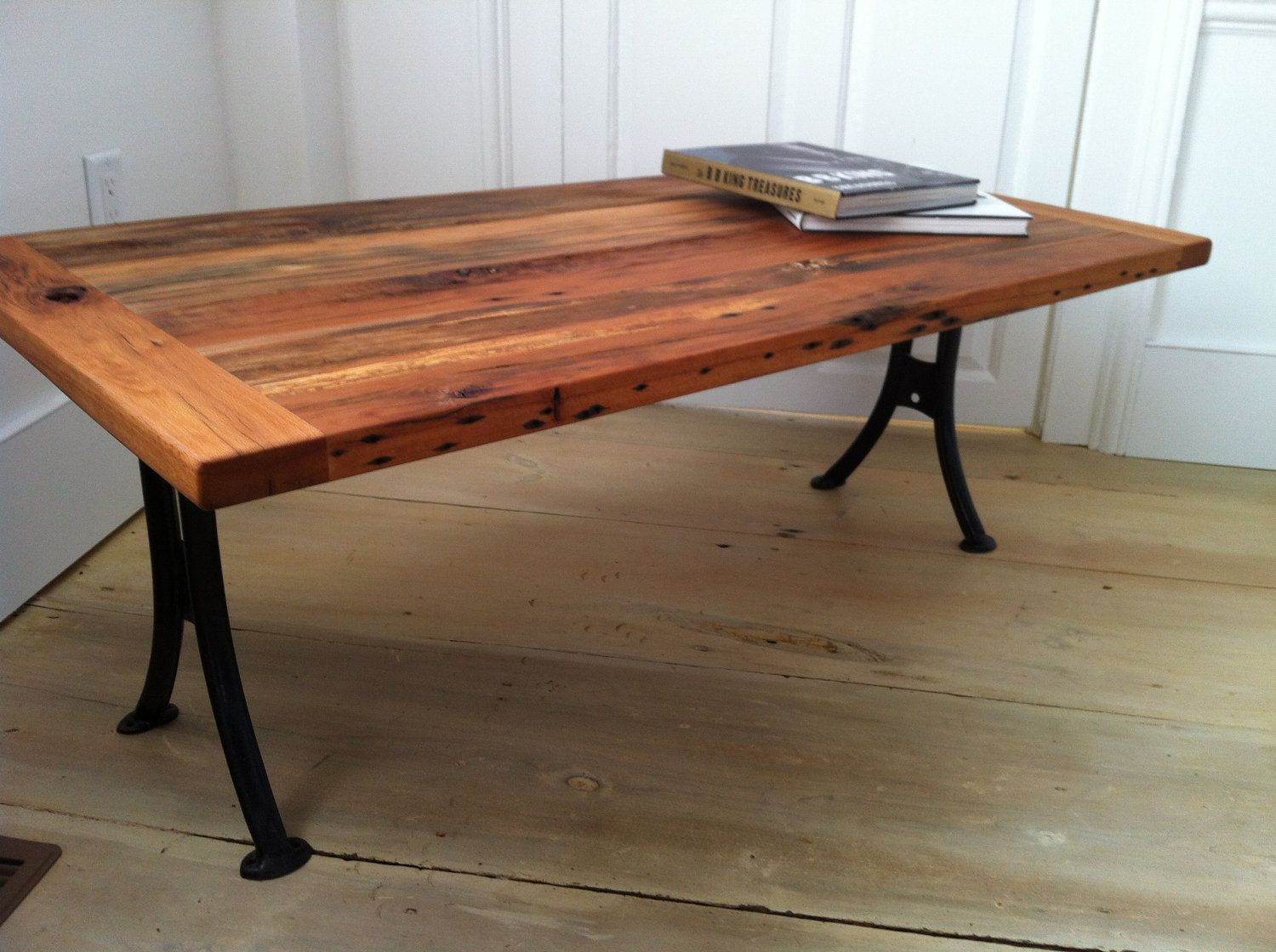 reclaimed barnwood coffee table with antique school desk