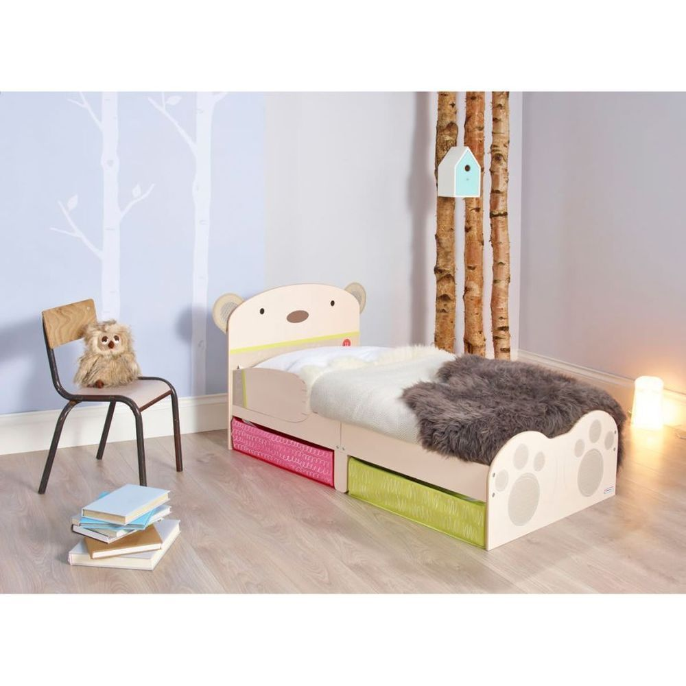 Worlds Apart Toddler Bed Kids Sleep Cot With Drawers Bear Hug Beige WORL230011
