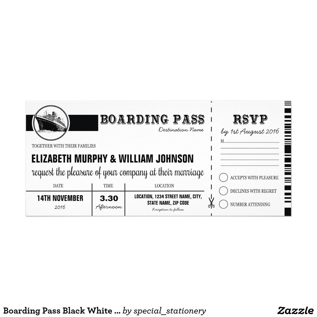 Boarding Pass Black White Vintage Cruise Wedding | Black and White ...