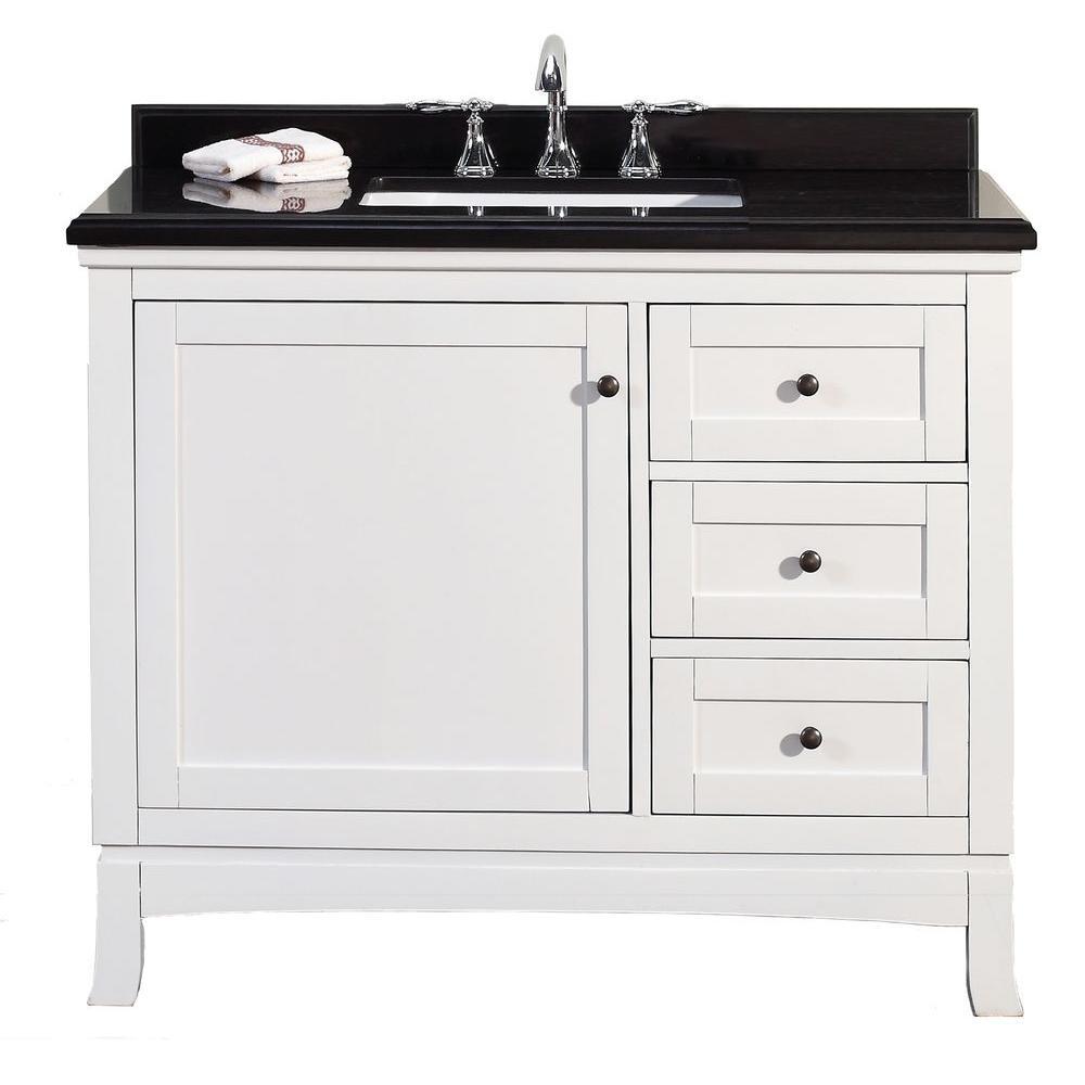 Ove Decors Sophia 42 In W X 21 In D Vanity In White With Granite Vanity Top In Black With White Basin Granite Vanity Tops Bathroom Sink Vanity 42 Inch Bathroom Vanity