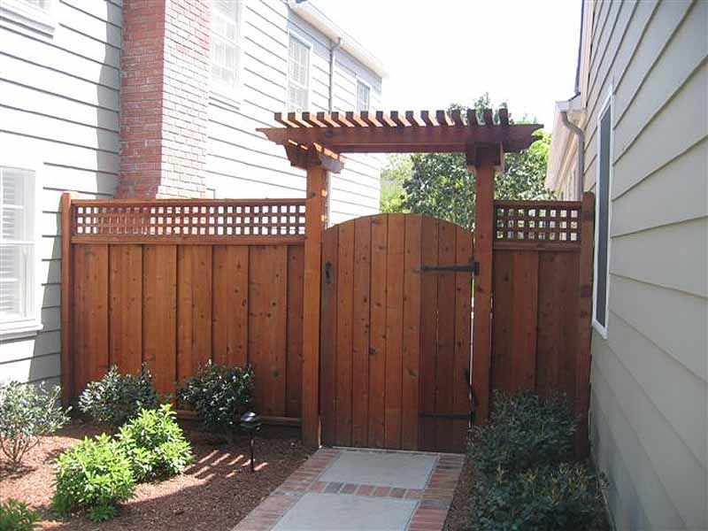 Garden fence gate with T Trellis over it I like this as an idea