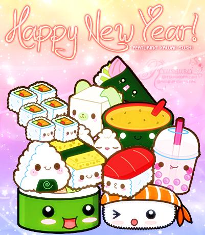 Happy New Year Ft Kawaii Sushi By Ryushurei On Deviantart Happy New Year Kawaii Happy
