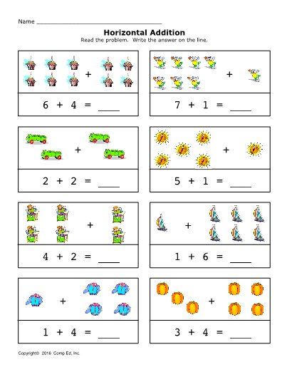 Addition 0 10 Horizontal Set 1 Touch Math Kids Math Worksheets Learning Worksheets