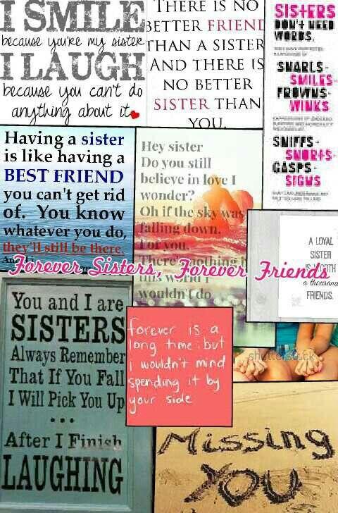 Sister quote collage | Sister quotes, Quote collage, Good smile