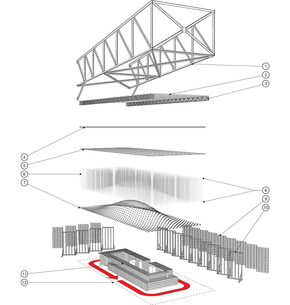 Axonometric Drawing Of The Pavilion Showing The Various