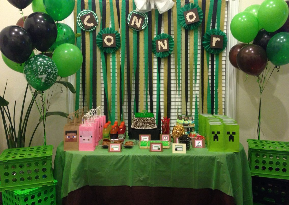 Minecraft Birthday Theme Party Green Black And Brown Boys