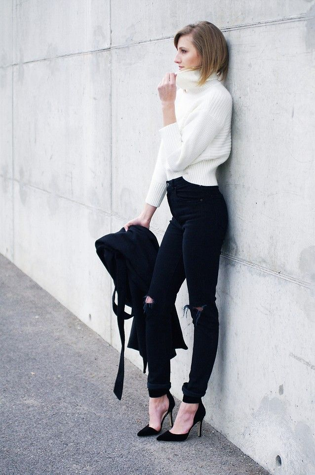 53ce52f07a6 black skinny high waisted jeans with cropped turtleneck sweater bmodish