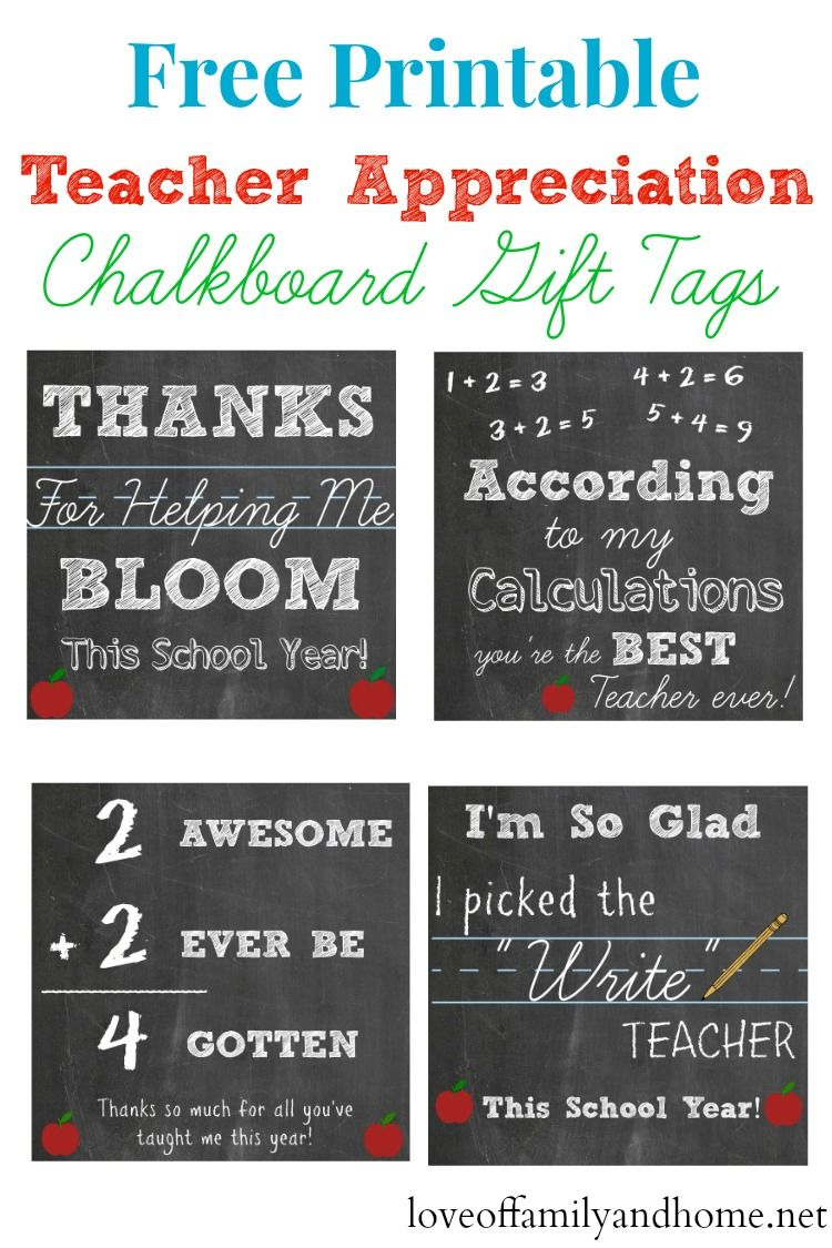 graphic relating to Free Printable Teacher Gift Tags identified as Totally free Printable Trainer Appreciation Chalkboard Reward Tags