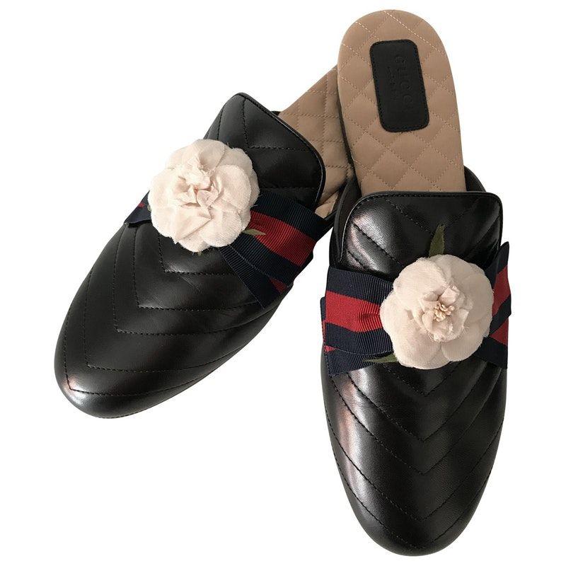 d8a48a04c black Plain Leather GUCCI Flats - Vestiaire Collective   Shoes in ...