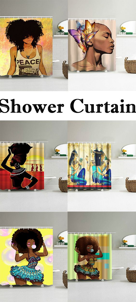 Hip Hop Afro Hair Girl Shower Curtain Diy Home Decor Bedroom Home Decor Bedroom