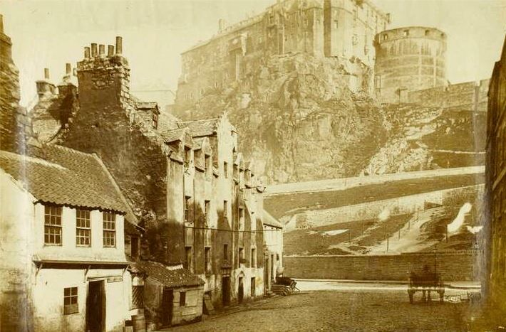 Edinburgh Castle from Kings stables 1850. My great grandmother was born at 3 Kings Stables.