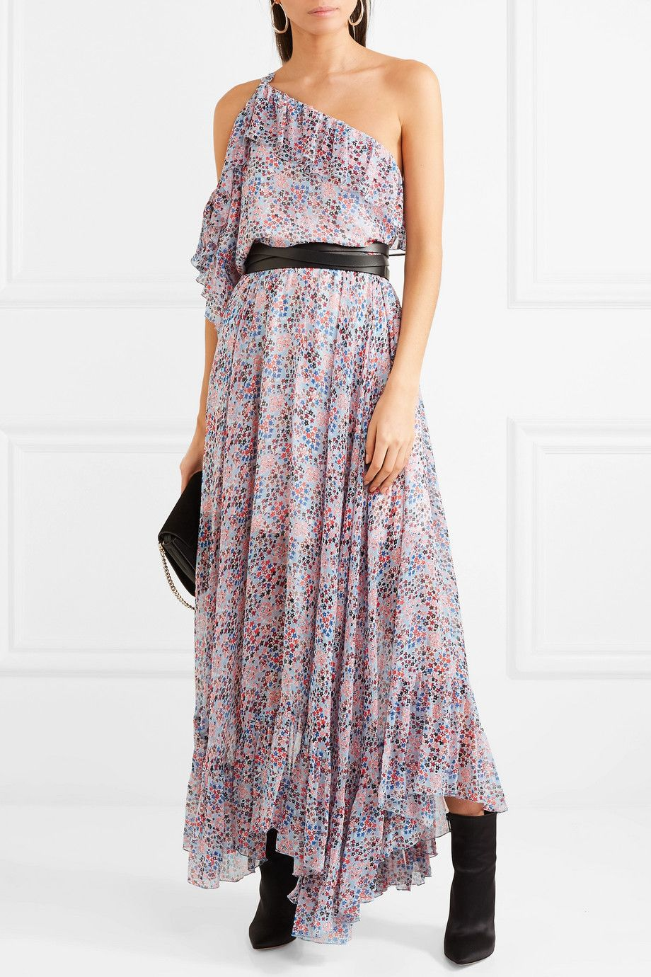 Cold-shoulder Ruffled Floral-print Crepon Maxi Dress - Purple Philosophy di Lorenzo Serafini rLcUu1