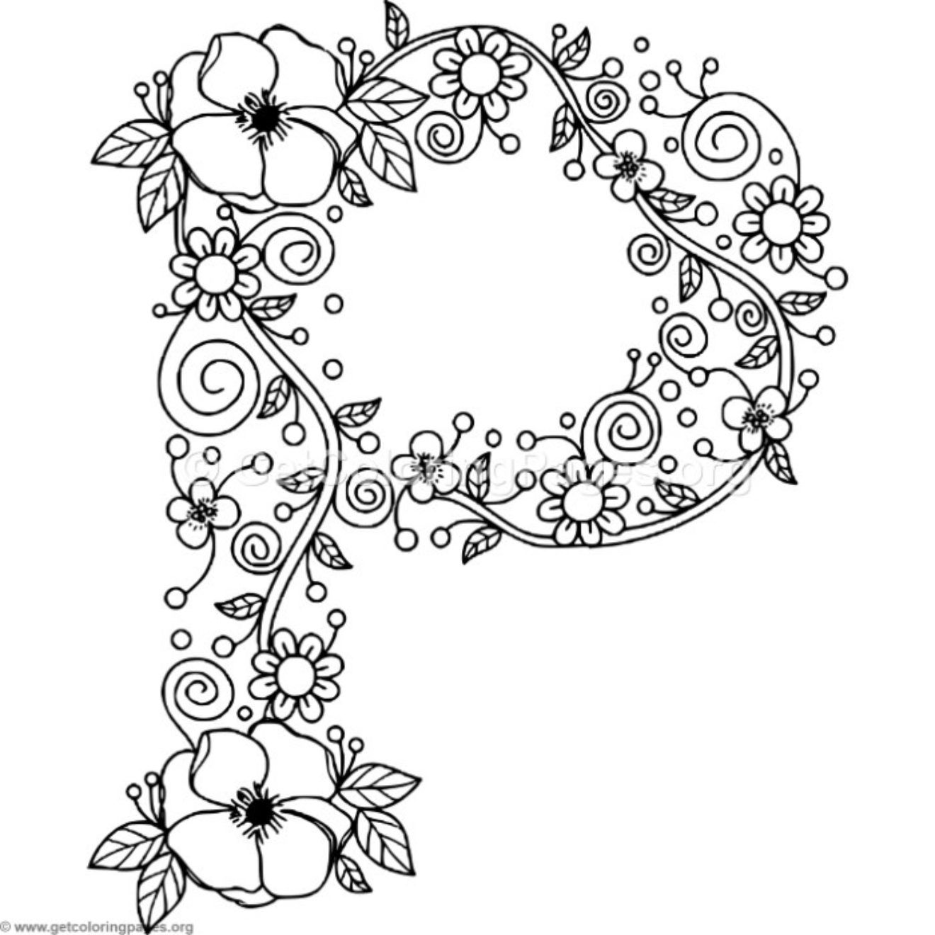 floral alphabet coloring pages – Page 2 – GetColoringPages.org ...