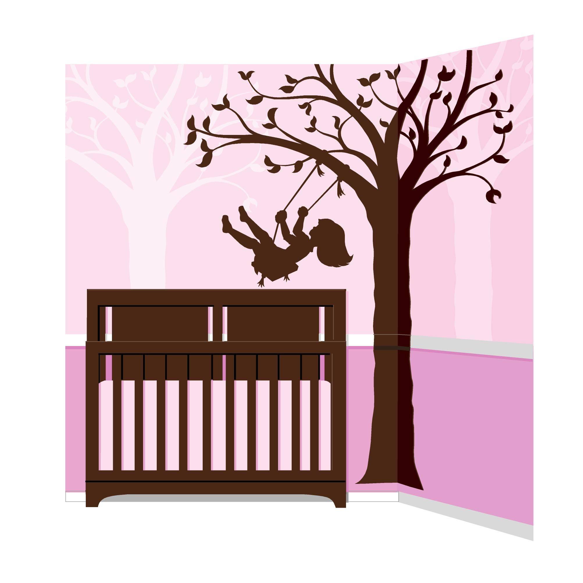 Children s murals diy paint by number wall murals - Silhouette Swing Wall Mural Paint By Numbercolor