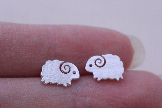 Silver Sheep stud earrings minimalist earrings simple by SuperShy