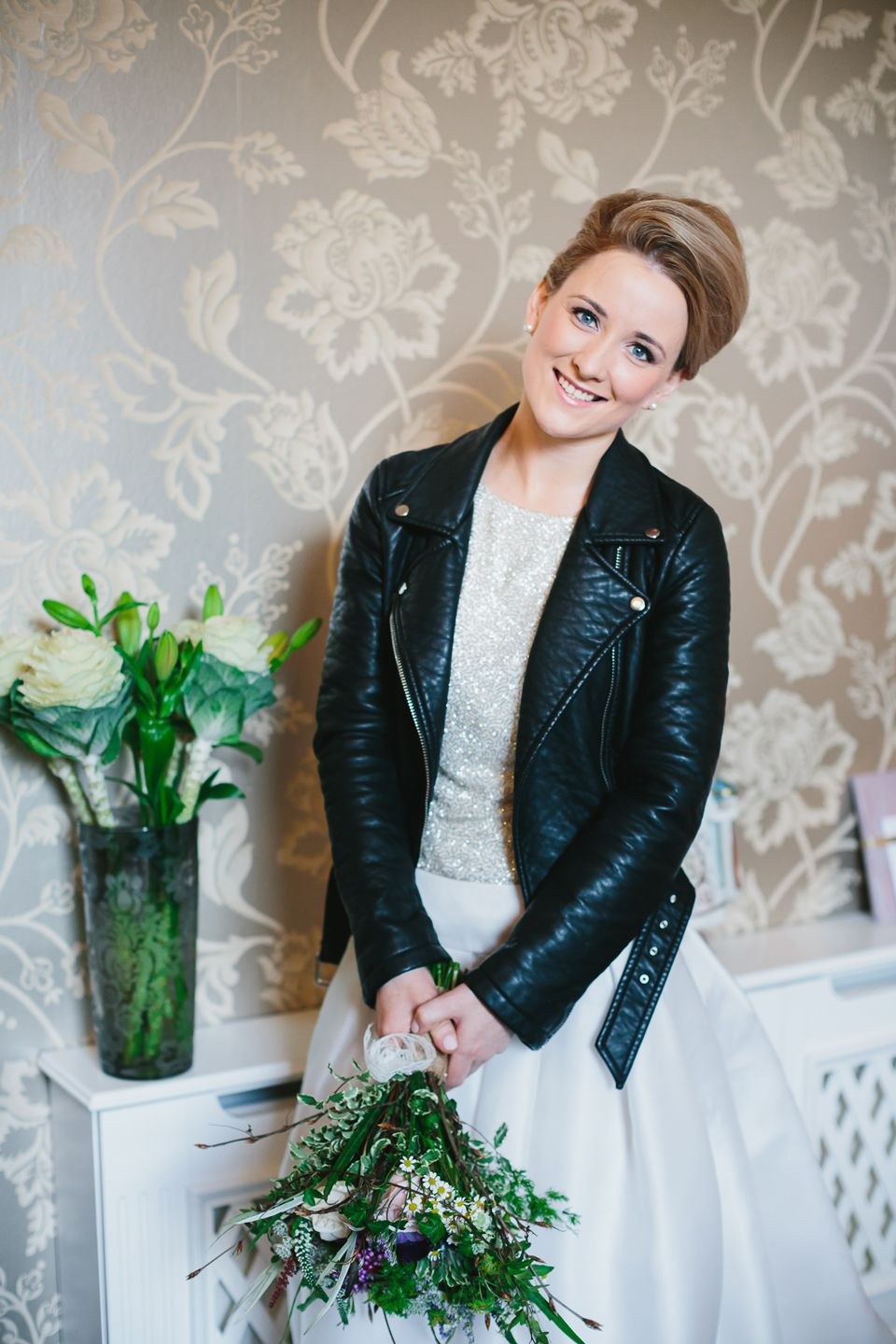 leather wedding dress Bride wearing an Elizabeth Stuart gown and black leather jacket http www