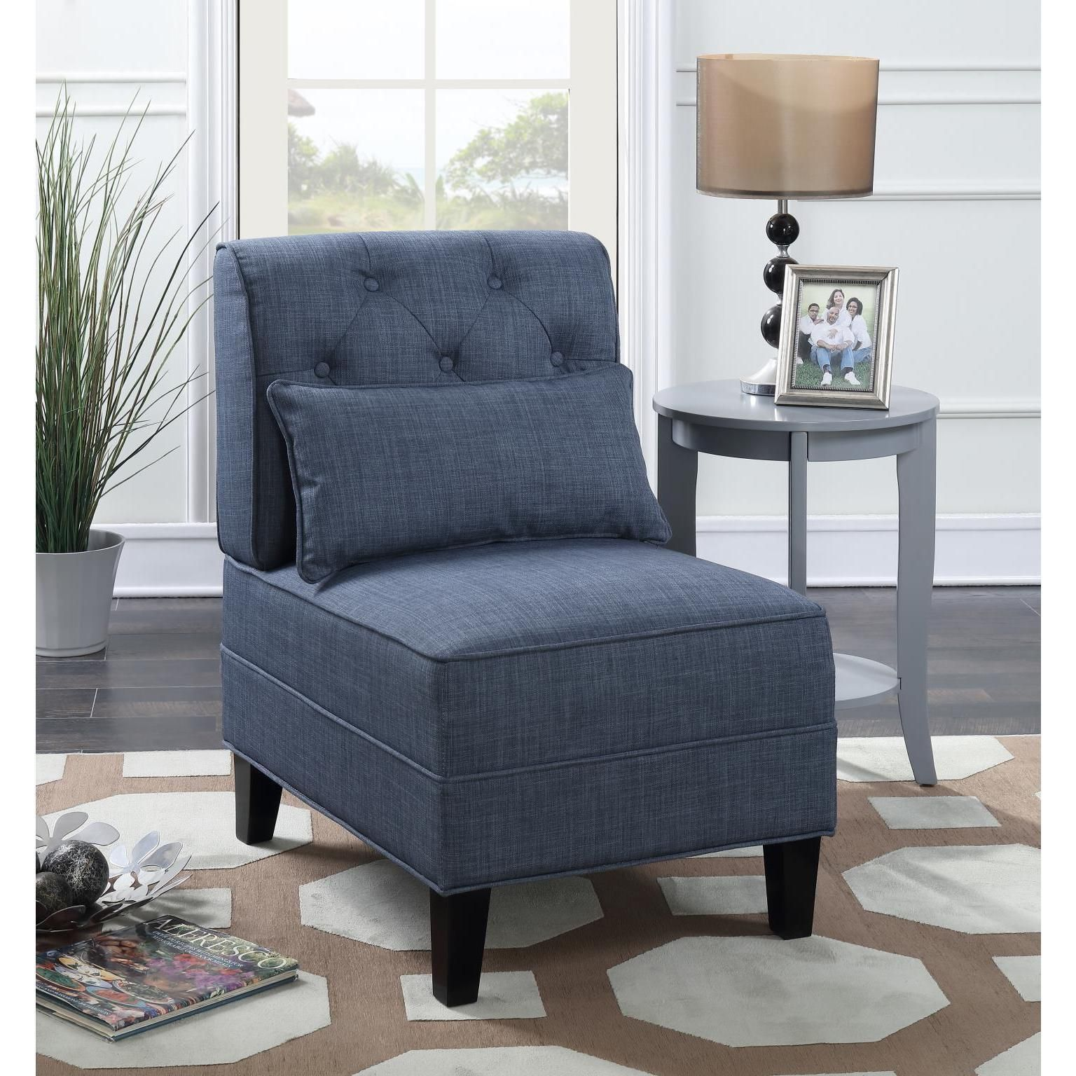 Best Lyke Home Avery Tufted Slipper Accent Chair Blue 400 x 300