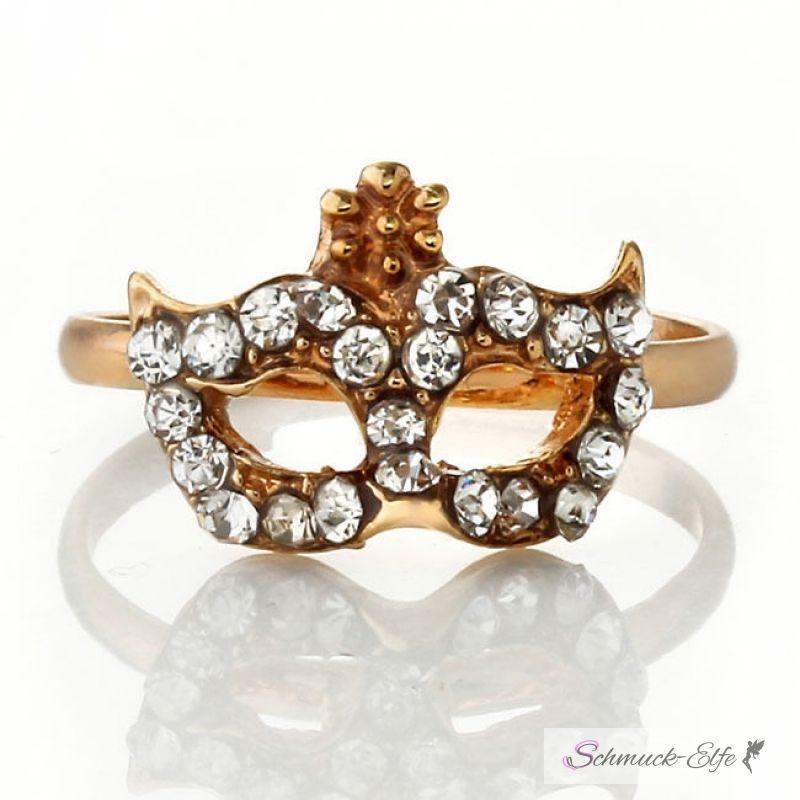 Ring Maske Strass gold, 9,49 €