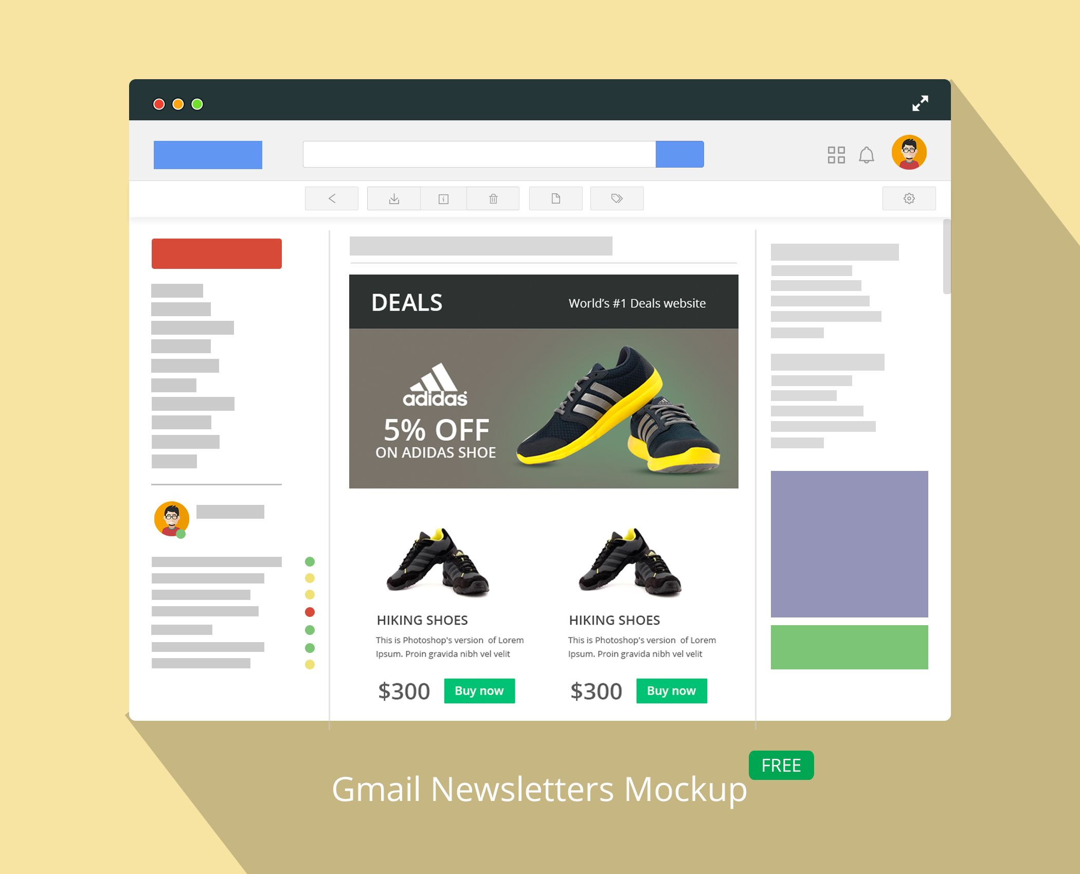 Mockup For Newsletter Templates In An Gmail Style Blogging