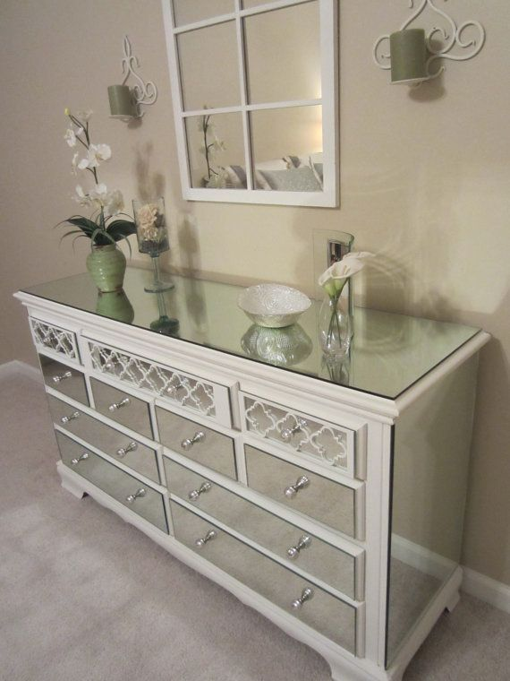 mirrored dresser white with quatrefoil overlay by