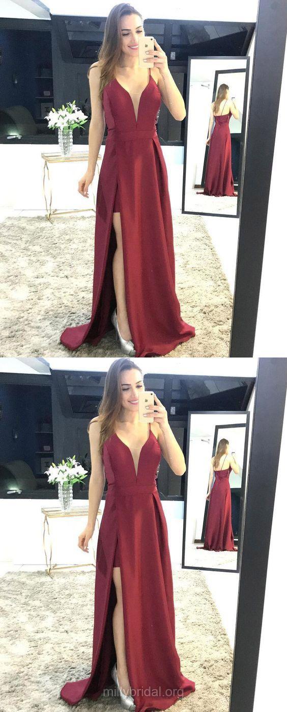 Burgundy prom dresses long prom dresses prom dresses split front