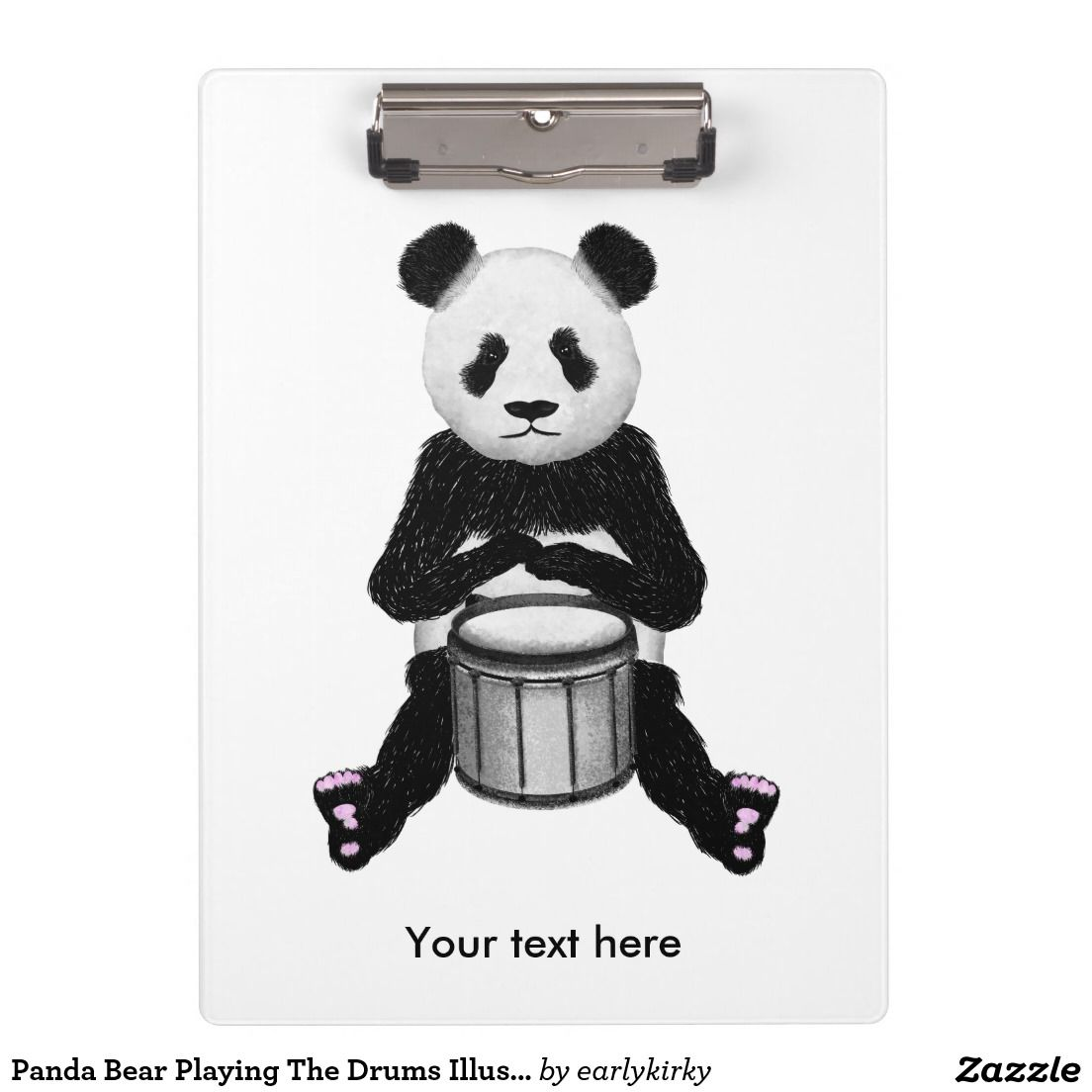 Panda Bear Playing The Drums Illustration Clipboard