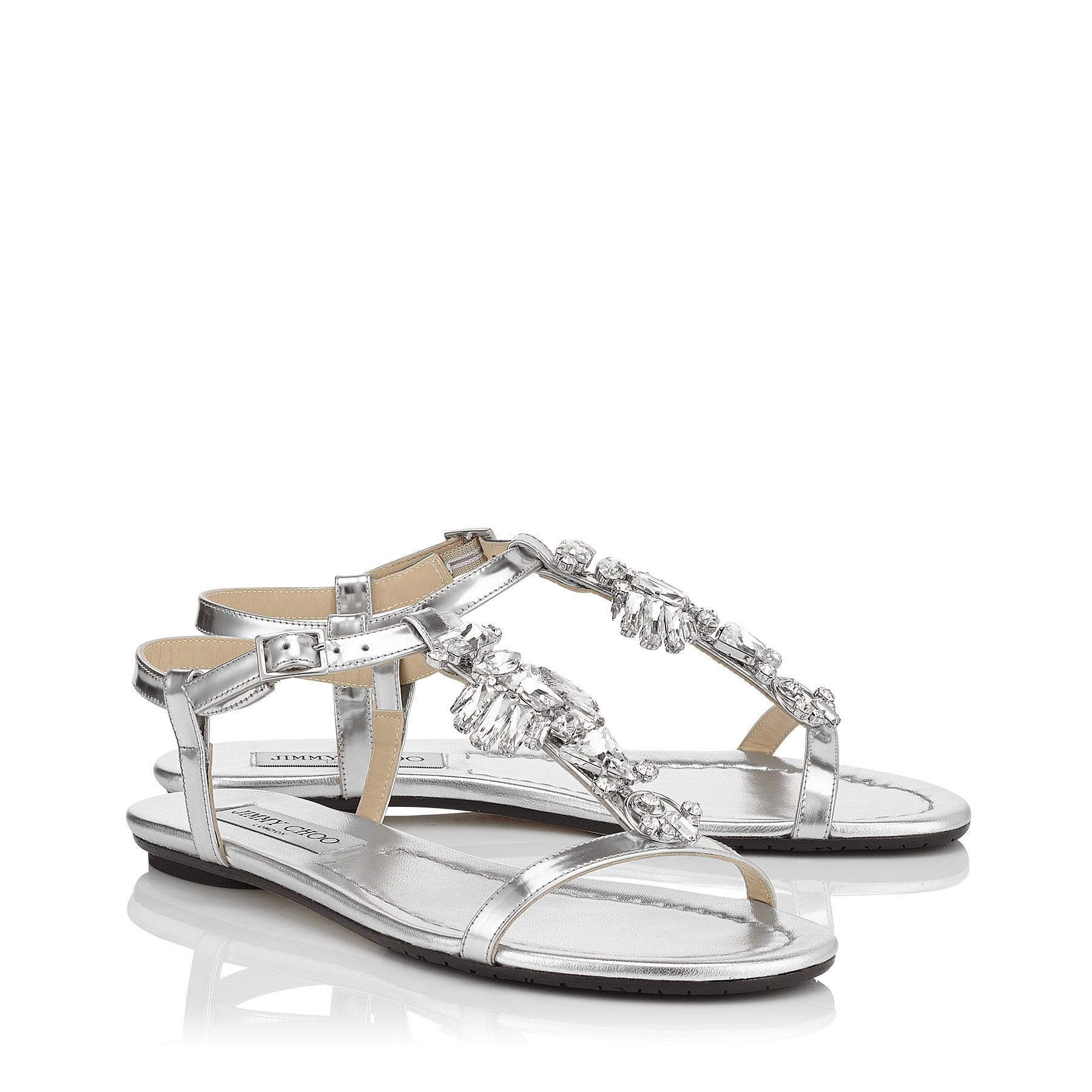 0ec90d0961c1 Silver Mirror Leather Flat Sandals with Crystal Detail
