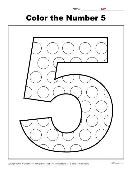 Color The Number 5 Preschool Number Worksheet Kindergarten Worksheets Printable Numbers Preschool Kindergarten Worksheets
