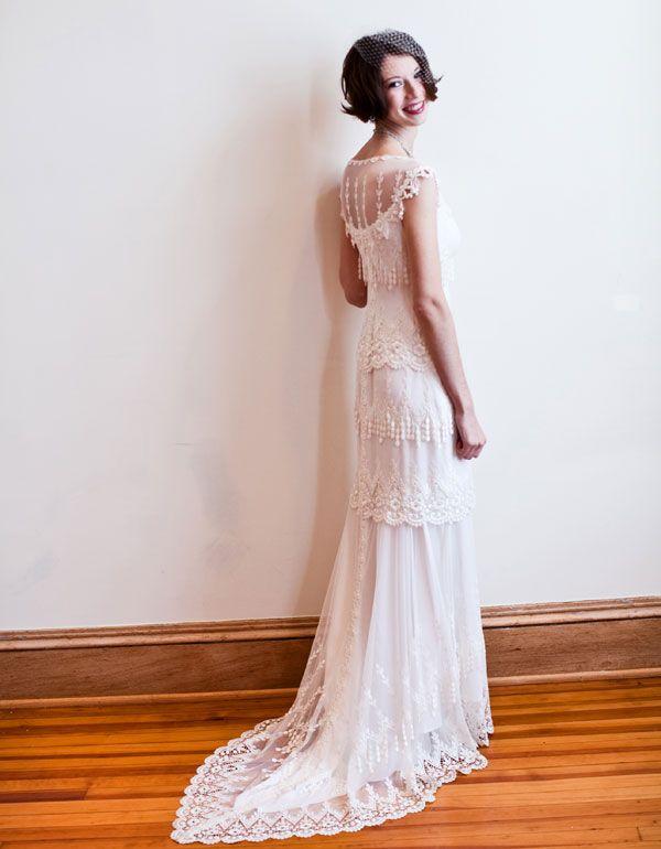 Real bride Amanda wearing Claire Pettibone 'Kristine' wedding gown   http://www.clairepettibone.com/bridal/?cp=gowns/kristene   Photographer: Persinger photography