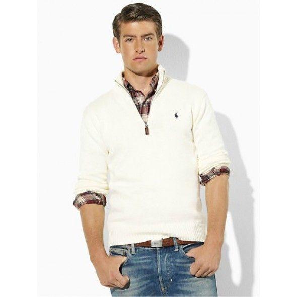 Ralph Lauren Men Mesh Cotton White Half-zip Sweaters http://www.