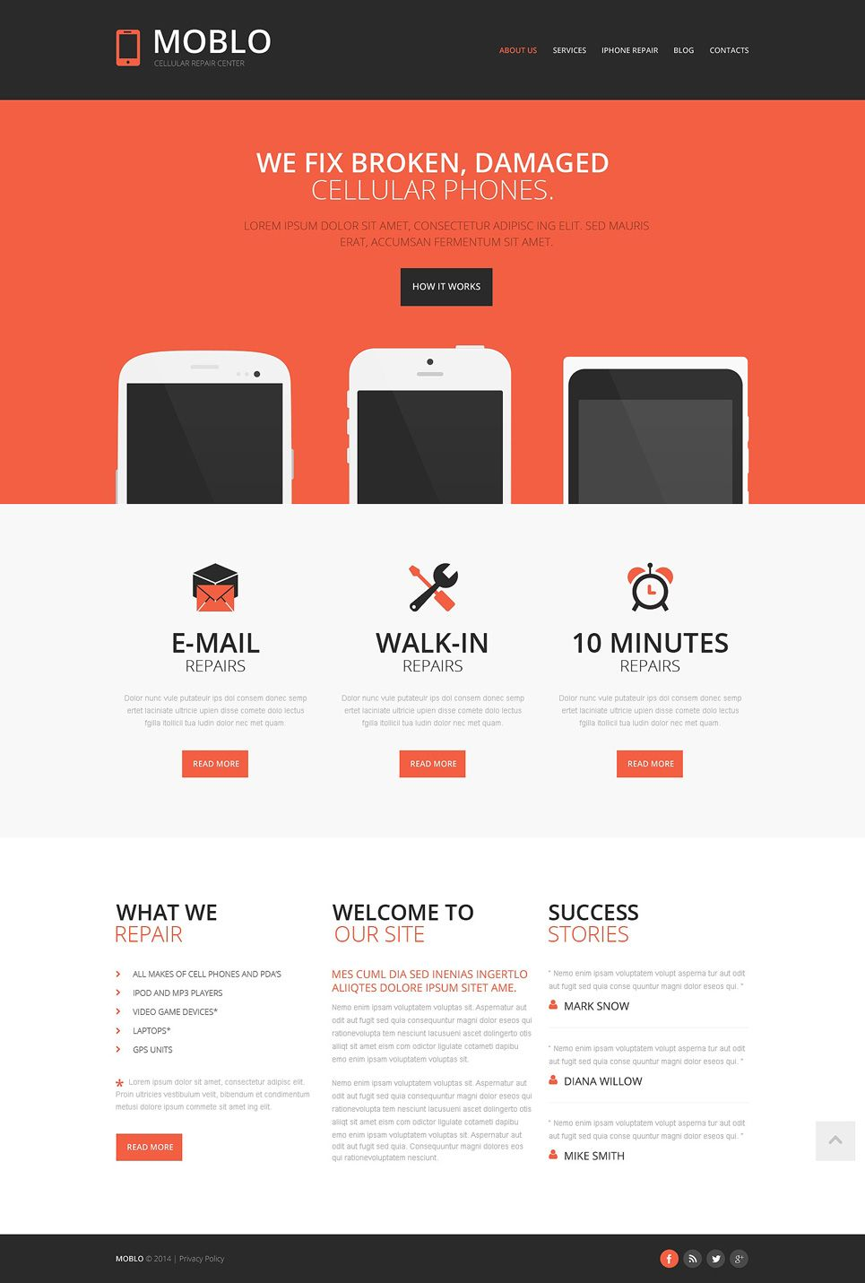 Mobile Store Responsive Website Template Templatemonster Website Template Responsive Website Template Simple Website Cell phone repair website template
