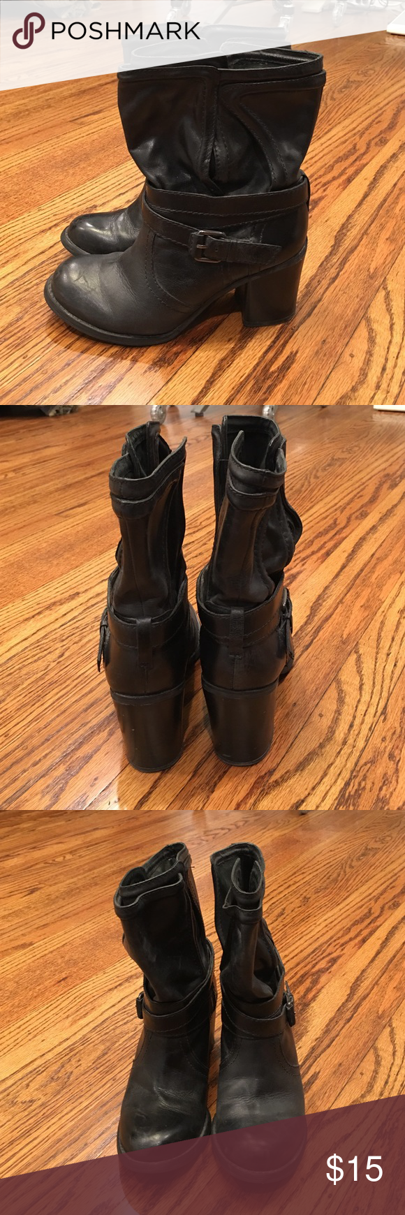 """Wrap buckle boots 3"""" Heeled boots with wrapped ankle and buckle detail. Shaft is open on one side to slip right on. Good condition BCBGeneration Shoes Combat & Moto Boots"""
