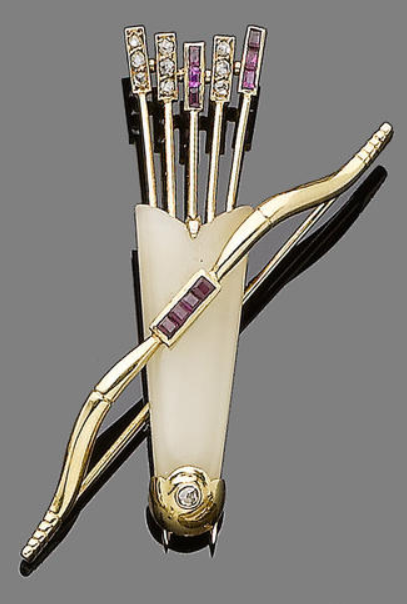 A chalcedony, ruby and diamond brooch, by Cartier Modelled as a bow with a quiver of arrows, the quiver set with a chalcedony plaque, the fletching highlighted with calibré-cut rubies and rose-cut diamonds, the bow handle set with similarly-cut rubies, signed Cartier Paris, numbered, French assay mark.