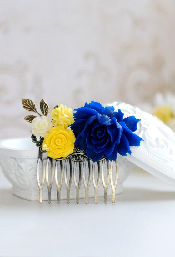Cobalt Blue And Yellow Flower Hair Comb Blue Rose Hair By Lechaim