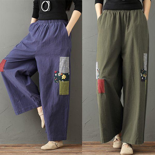 c6d6ba79fc05c3 Gorgeous Ethnic Print Patchwork Wide Leg Elastic Waist Women Pants -  NewChic Mobile