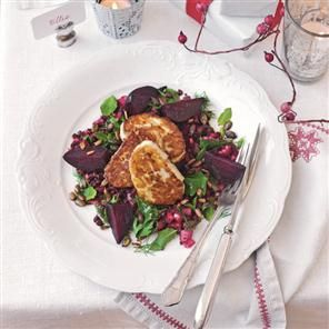 Herbed lentil and beetroot 'couscous' with halloumi and spiced seeds recipe. This colourful and herby vegetarian dish is healthy, filling and tastes great too