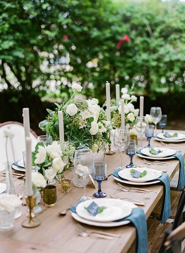 long table setup wedding reception%0A Blue Miami Wedding Inspiration