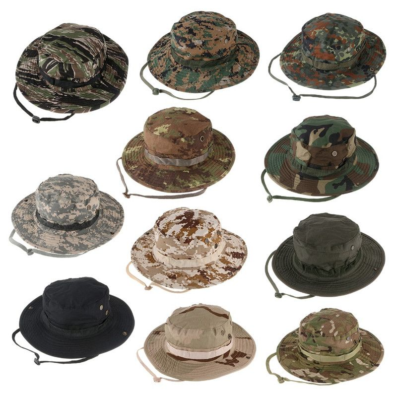 48614a83a7bd4 Military Camouflage Hidden Jungle Hat Multifunctional Fishing Caps Hats Sun  Protection Camping Hiking Sunproof Hats